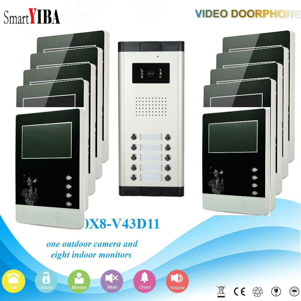 SmartYIBA 10 Units House/Flat Doorbell Apartment Video Door Entry Phone Call System Building Intercom Video Door Phone
