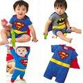 A Criança do bebê Batman Superman Partido Outfit Traje Extravagante Superhero Crianças Meninos roupas Dos Desenhos Animados Batman Superman meninos macacão 0-24 M