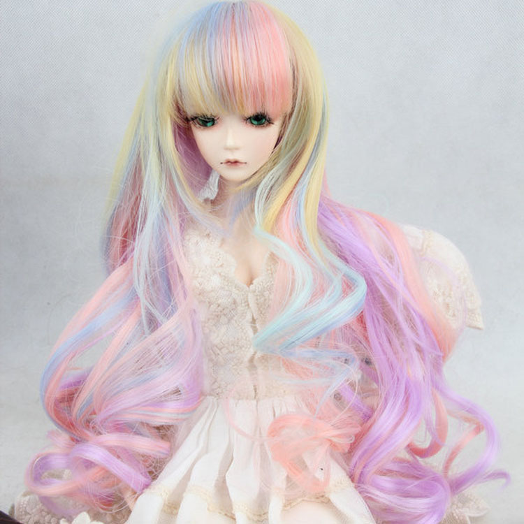 Immediately shipped Wholesale BJD / SD doll wig high temperature wire hair long curly hair color gradation 1/3 1/4 1/6