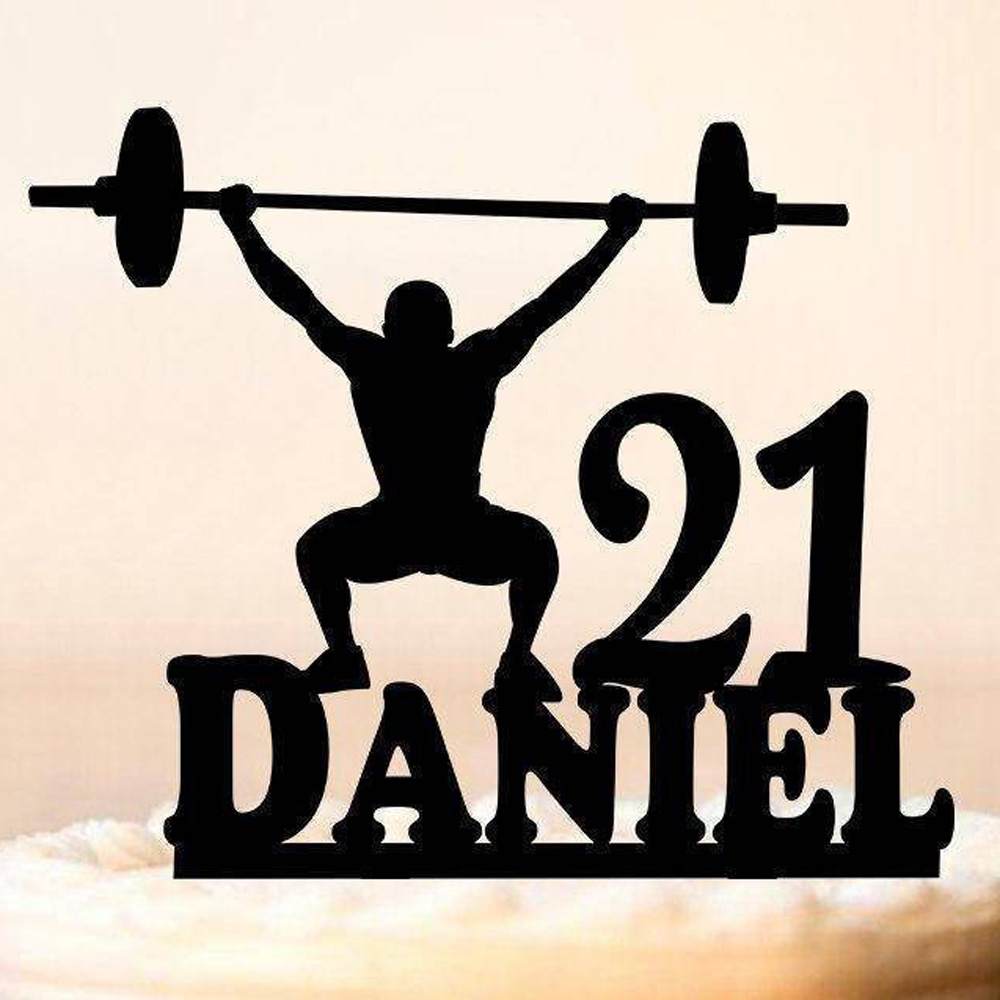 Personalized Name Muscle Man Happy Birthday Cake TopperSports Men Silhouette Topper Bodybuilder Party