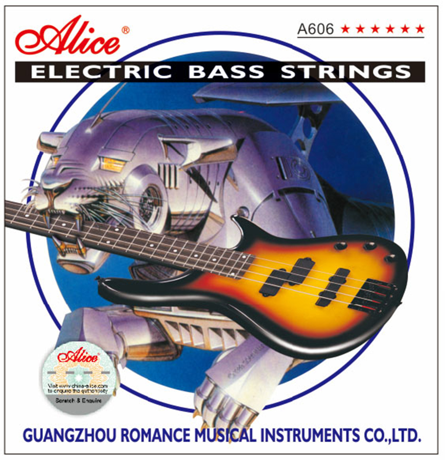 Electric Bass Strings Steel Core Nickel Alloy Wound 4 Strings Alice A606 alice a628 fretless 4 electric bass strings full set 4 strings hexagonal core nickel alloy wound gold ball end