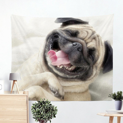 3D Creative Cool Cats Series Pattern Polyester Tapestry pug Animal Printed Wall Hanging Gobelin Living Room Home Decoration