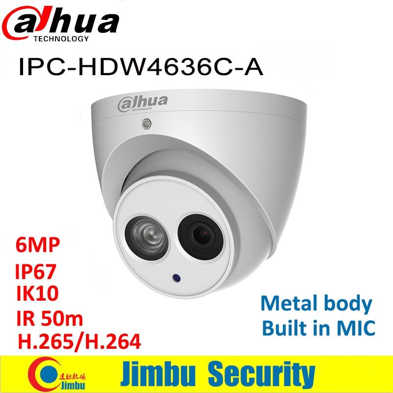 Dahua 6MP IP Camera IPC HDW4636C A Metal body H 265 Built in MIC IR50m IP67