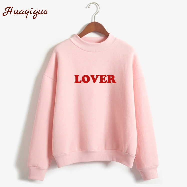 New Autumn Winter Thick Sweatshirt Long Sleeve Letter Lover Printed Fleece Harajuku Women Hoodies Moletom Pullover Feminino