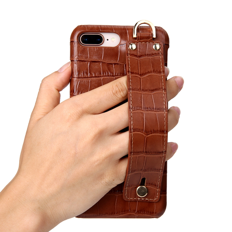 buy online a598f 0d31a US $18.9 |Real Genuine Leather Crocodile Hand Strap Holder Cover Case For  iPhone 8 Plus Cell Phone Luxury Ultra Slim Thin Hard Case Solque-in ...