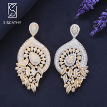 Siscathy 2019 Fashion Jewelry Women Bridal Earrings Waterdrop Cubic Zirconia Engagement Wedding Pierced Dangle Drop Earrings недорого