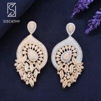 Siscathy 2019 Fashion Jewelry Women Bridal Earrings Waterdrop Cubic Zirconia Engagement Wedding Pierced Dangle Drop Earrings