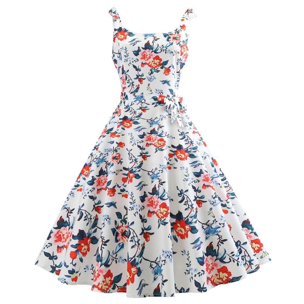 NoEnName_Null Fashion Women Ruffle Summer Dress Vintage Printing Bodycon Sleeveless Halter Evening Party Prom Swing Dress