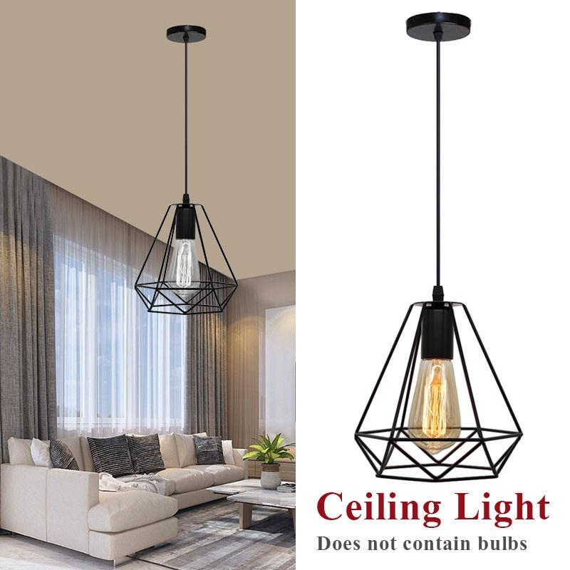 Современная промышленная винтажная клетка, подвесной светильник, железное искусство, алмазная пирамида, кованая домашняя потолочная лампа, подходит для ламп E27