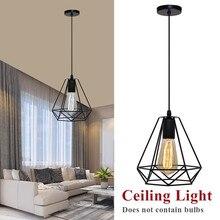 Lámpara colgante de jaula Industrial Vintage moderna, lámpara de techo de hogar forjado con pirámide de diamante de arte del hierro, adecuada para bombillas E27