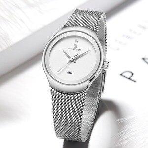 Image 3 - Zegarki damskie NAVIFORCE Top luksusowa marka Lady Fashion Casual prosty stalowy siatkowy zegarek na rękę z paskiem, bransoletą prezent dla dziewczyn Relogio Feminino
