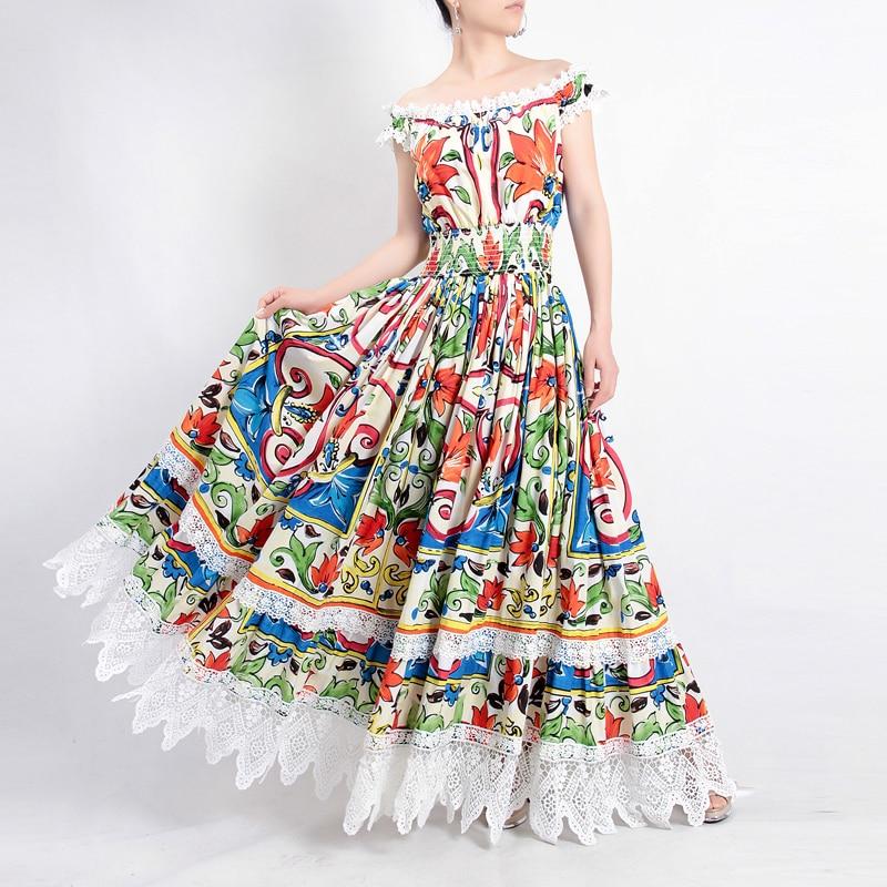 Высокое качество модные дизайнерские 100% хлопок макси платье Для женщин великолепные Цветочный принт кружева лоскутное для отдыха и вечери