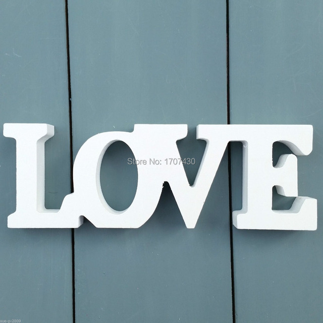 Chic Shabby Cream White Standing Medium Wooden Love Word Plaque