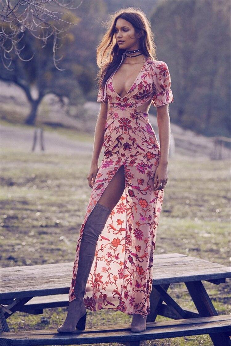 V Maxi Fshion Taille cou Floral Haute D'été Robe Creux Rose Manches Papillon Longue Impression Femmes Mignon 2017 Boho Qualité TqYREw