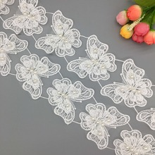 Applique Lace Butterfly Beaded-Dress Fabric-Trim Ribbon-Pearl Sewing Wedding-Craft Organza