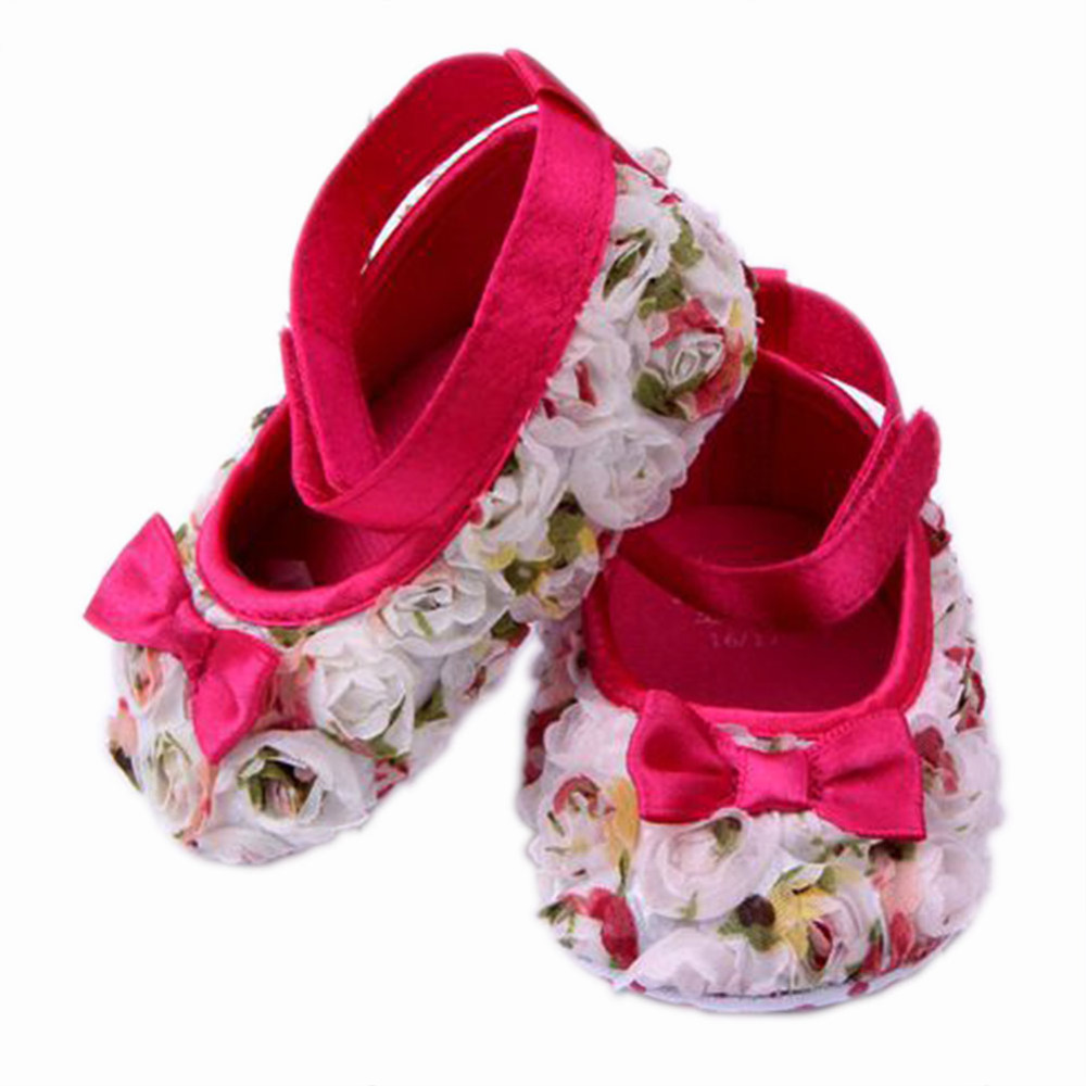 Cute Baby Girls Rose Princess Pre-walkers Shoes Infant Soft Sole Baby Shoes Toddler Anti-slip Shoes