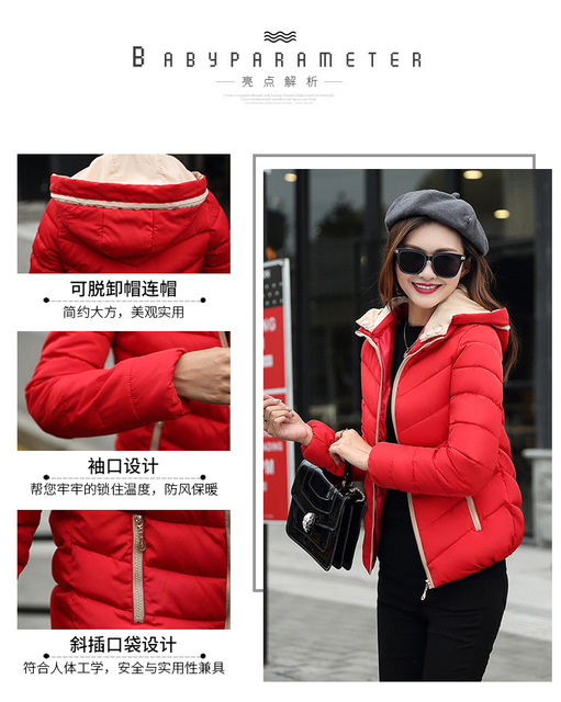 2018 full cotton liner zipper solid new arrival slim cotton jacket zippers cotton-padded winter women coat 5
