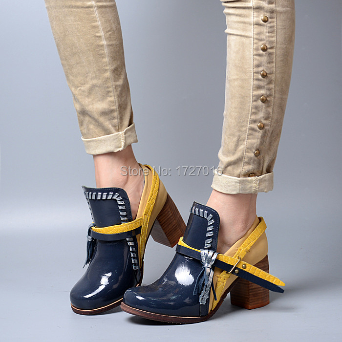 Autumn Women LeatherAnkle Boot Shoes Mixed Color Chunky High Heels Chaussure Femme Vintage Square Toe Zapatos Mujer Buckle Botas high boot
