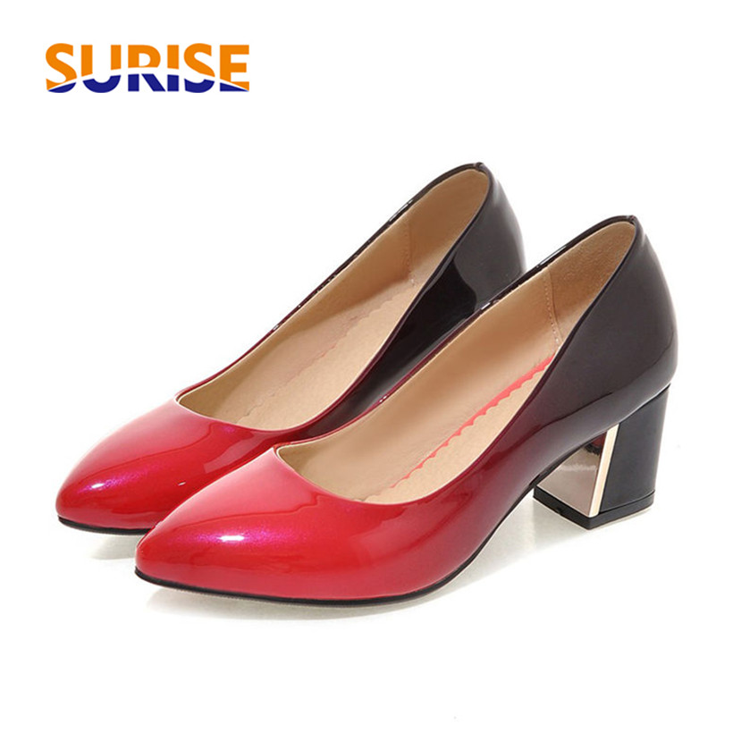 Casual Women Pumps Medium High Thick Block Heel Pointed Toe Gradient Patent Leather Wedding Office Dress Party Slip-on Lady Pump