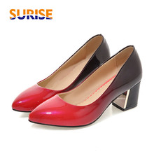 Casual Women Pumps Thick Block Medium High Heel Pointed Toe Gradient Patent Leather Wedding Office Dress Party Slip-on Lady Pump