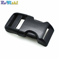 100pcs/pack 3/4''(20mm) Plastic Contoured Side Release Buckles For Paracord Survival Bracelets/Dog Collar Black
