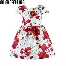Milan Creaciones Del Bebé Vestidos de Niña de Ropa de Los Cabritos 2016 Niños de la Marca de Trajes de Princesa de Las Muchachas Vestido Estampado de flores Vestido de Las Muchachas