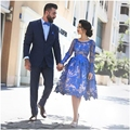 2017 New Prom Dresses Abric Pageant Dress Formal Evening Gown Party With Long Sleeve Tea-Length Lace Royal Blue Cheap