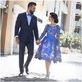 2017 novos vestidos de baile abric pageant dress evening formal vestido de festa com manga comprida tea-comprimento do laço azul royal barato