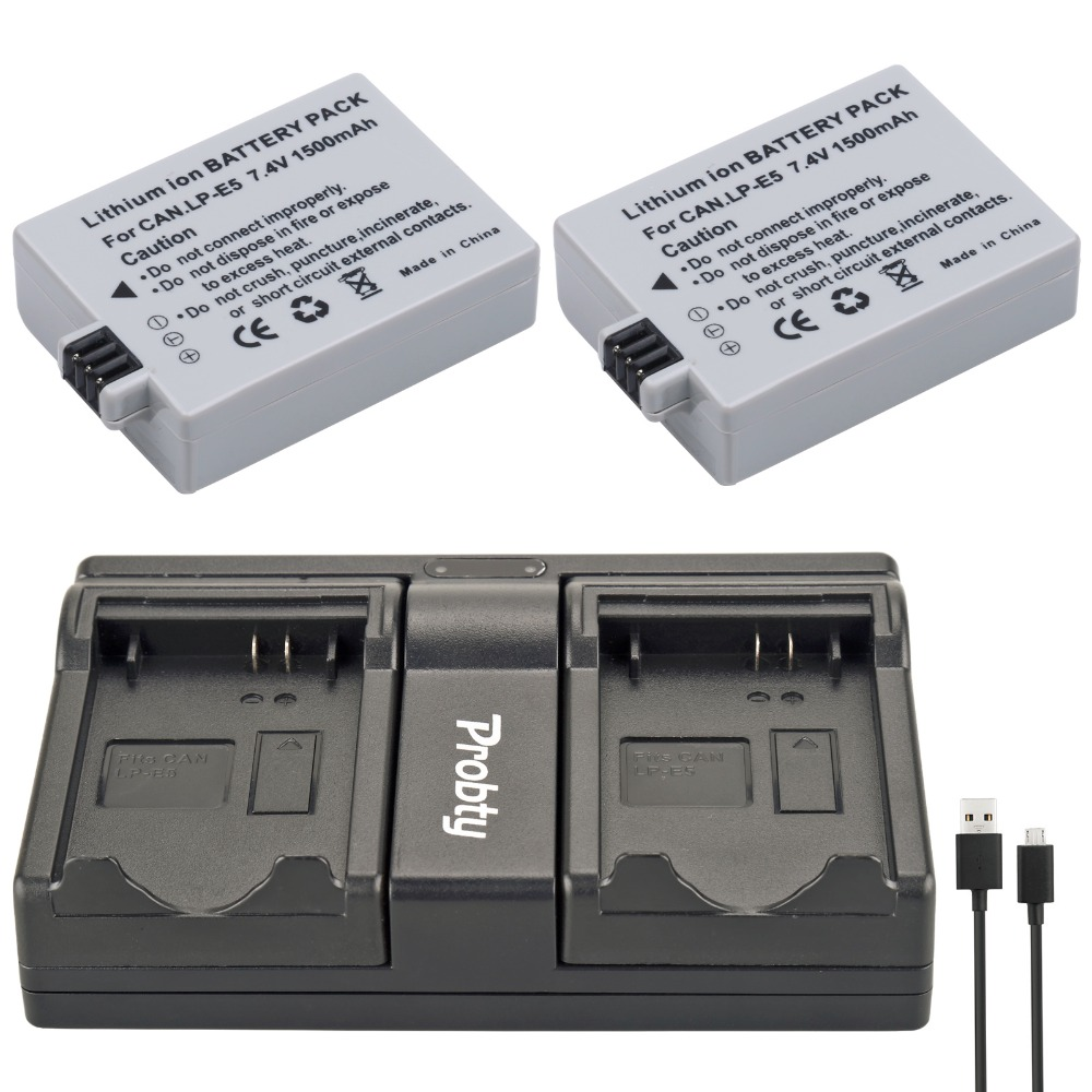 Accessories & Parts Independent For Canon Eos 450d 500d 1000d Camera Battery Lp-e5 Charger High Quality Materials