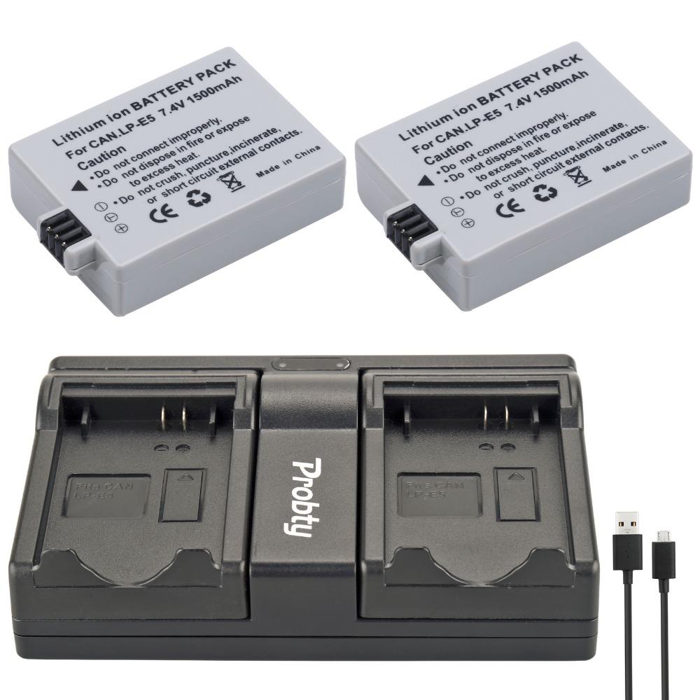 Prix pour Probty 2 pcs lp-e5 lp e5 caméra batterie + usb double chargeur pour canon EOS 450D 500D 1000D Rebel XS XSi T1i BAISER X2 X3 F REFLEX