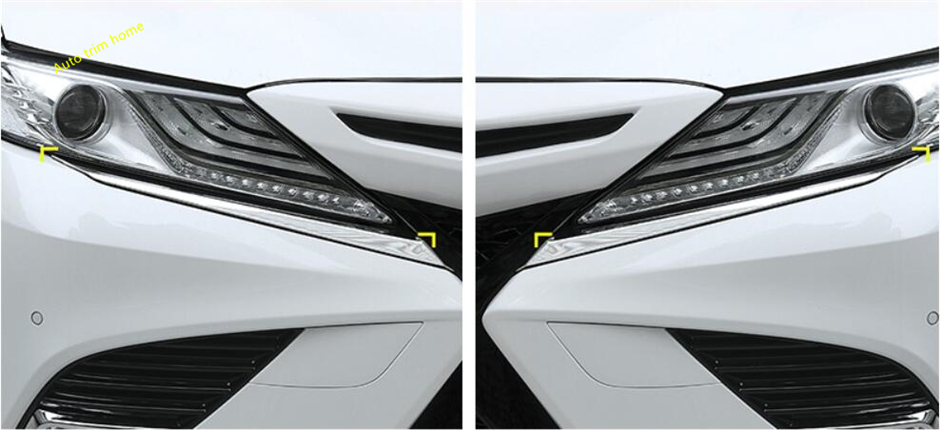 Lapetus Front Head Lights Lamp Eyelid Eyebrow Decoration Strip Molding Garnish Cover Trim 2 Pcs Fit For Toyota Camry 2018 2019 Exterior Parts
