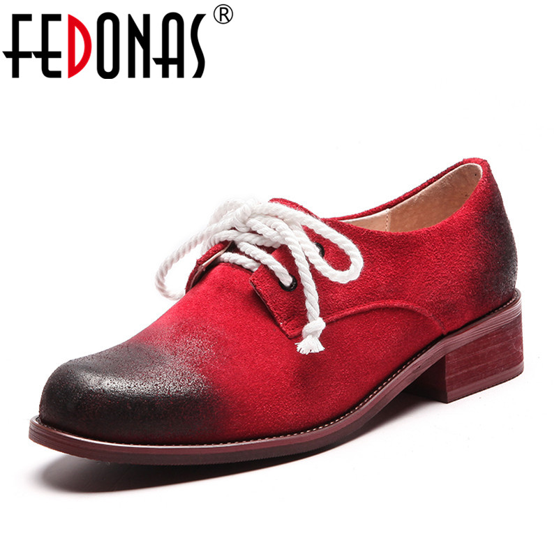 FEDONAS 2019 Retro Women Cow Suede Pumps Round Toe High Heels Lace Up Spring Autumn New Shoes Woman Punk Short Casual Shoes new high quality women shoes solid black spring autumn brogue shoes woman s fretwork lace up flat heels round toe oxfords shoes