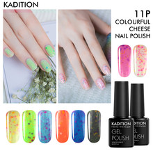 KADITION 8 ml queso UV Gel esmalte de uñas Color caramelo lámpara LED laca de la suerte remoja de esmalte de estampado Semi permanente híbrido barniz(China)