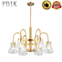 Dining room Chandeliers E27 Nordic Living room Fixture Lights Retro Cafes Wall Decorative Lamp Glass lampshade Copper Chandelier