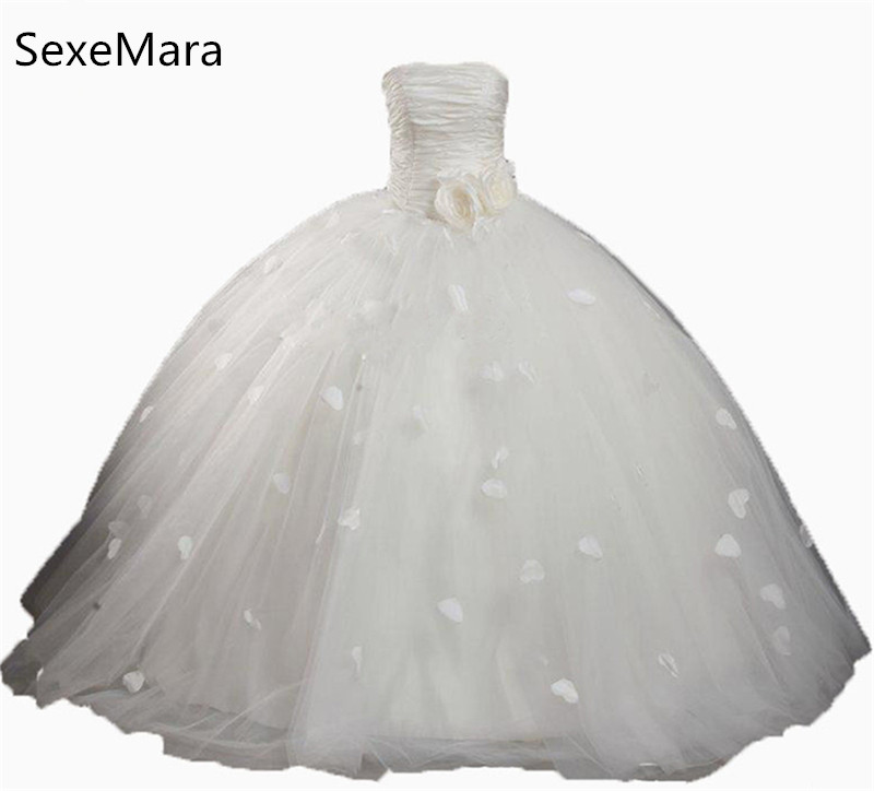 New White Ball Gown Flower Girl Dresses with Flowers Pleat Tulle Floor-Length Girls Pageant Gown First Communion Dresses white and ivory lace first communion dresses tulle mother daughter dresses for girls ball gown floor length flower girl dresses