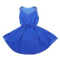 Moda Kobiety Sukienki Cozy Casual Elegancka Noble Lato Dziewczyna Sukienki Szyfonowa Sukienka niebieski S