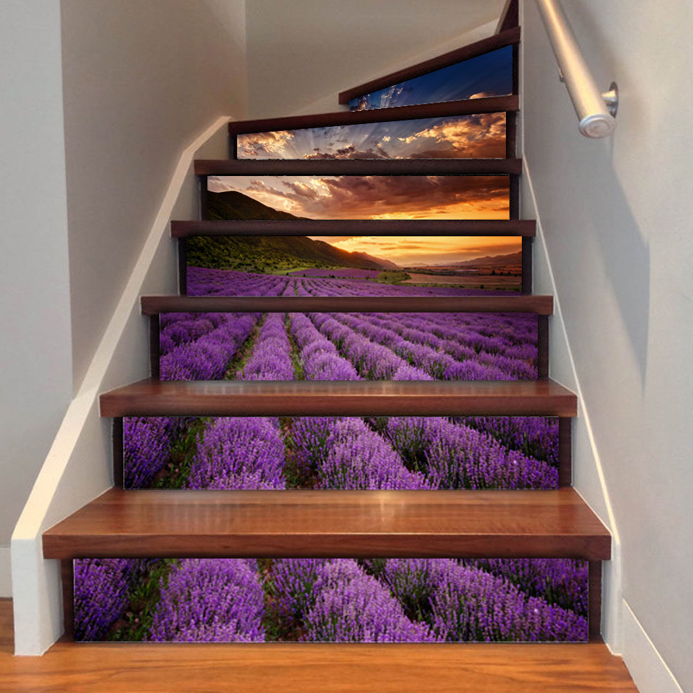 Wall Sticker Rushed 3d Lavender Home Office Decal Stairs Stickers Hotel Room Decoration Poster 2018 Promotion New Arrival Big