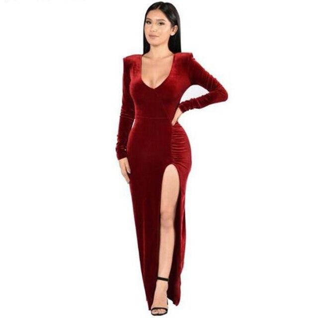 33517a8a952ea Automne Club velours robe moulante de noël mode haute fente robe célébrité  maxi manches longues rouge