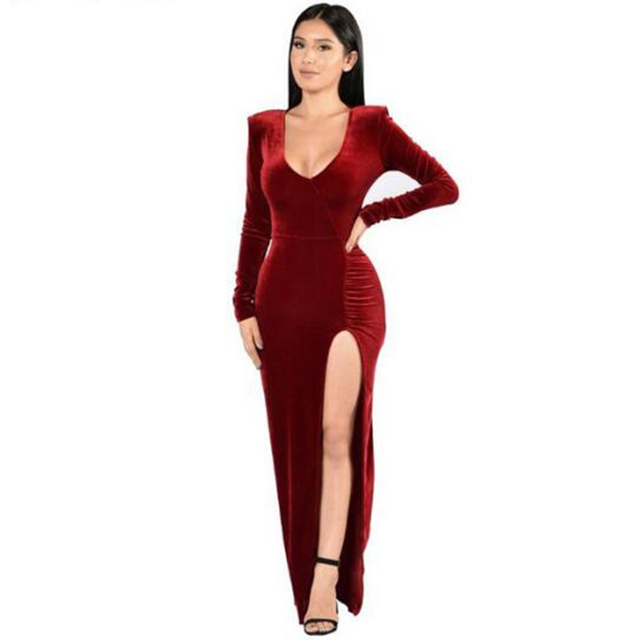 Autumn Club Velvet Dress Bodycon Christmas fashion high slit dress celebrity  maxi Long Sleeve red grey navy Party Dress Vestidos 537396c661df