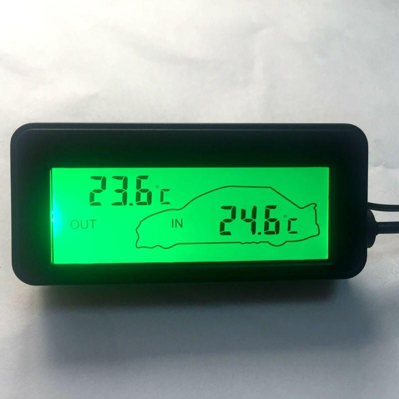 Mini LCD Numérique De Voiture Thermomètre DC 12 V De Voiture À L'intérieur/À L'extérieur Température Mètre Vert Rétro-Éclairé Véhicules Thermomètre 1.5 M CableSensor