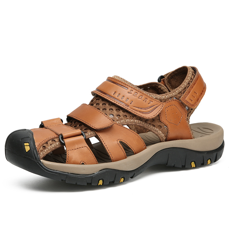 men fashion breathable genuine leather summer shoes non-slip platform beach sandals covers toe sneakers sandalias hombre sandale