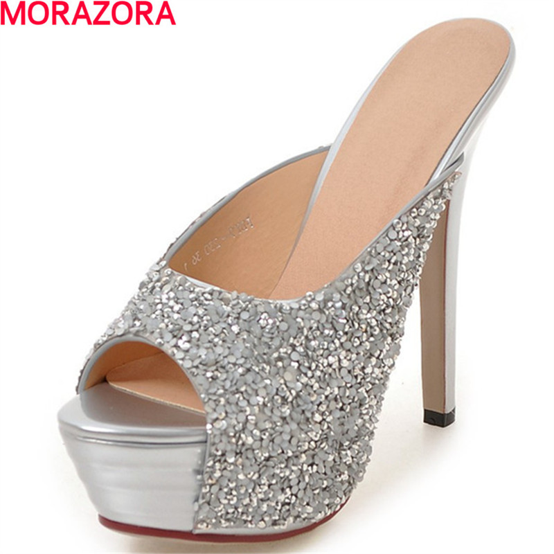 MORAZORA hot sale high heels shoes woman glitter sexy lady summer buckle platform shoes party wedding sandals big size 34-43 summer platform wedges party shoes for woman extreme high heels sexy wedding shoes woman comfort female shoes heel