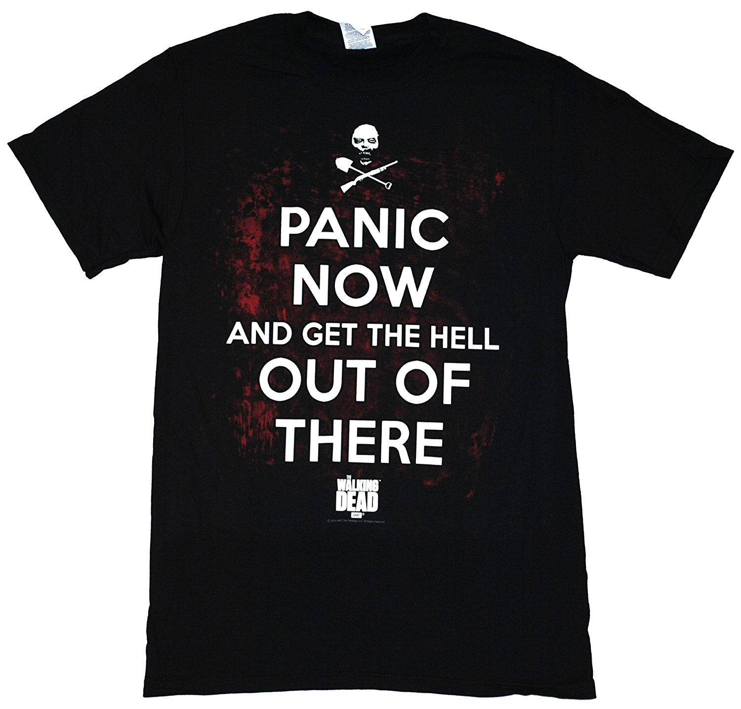 The Walking Dead Panic Now And Get The Hell Out Of There Adult Black T-shirt