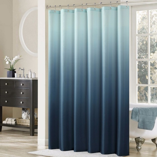 High Quality Arts Shower Curtains Blue Gradient Simple Design Bathroom Decorative Modern Waterproof