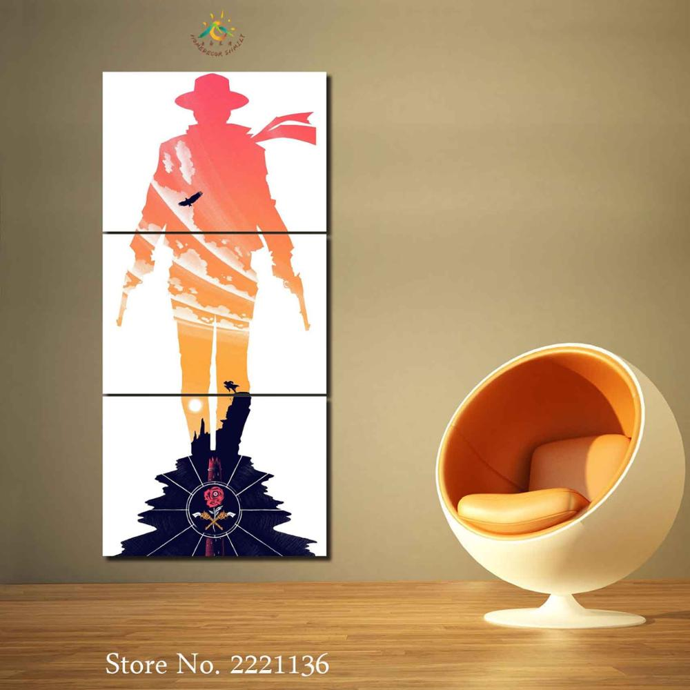 3 Pieces West Cow Boy HD Painting Wall Art Pictures Canvas Painting Printing Canvas Painting Wall Pictures for Young Room Decor