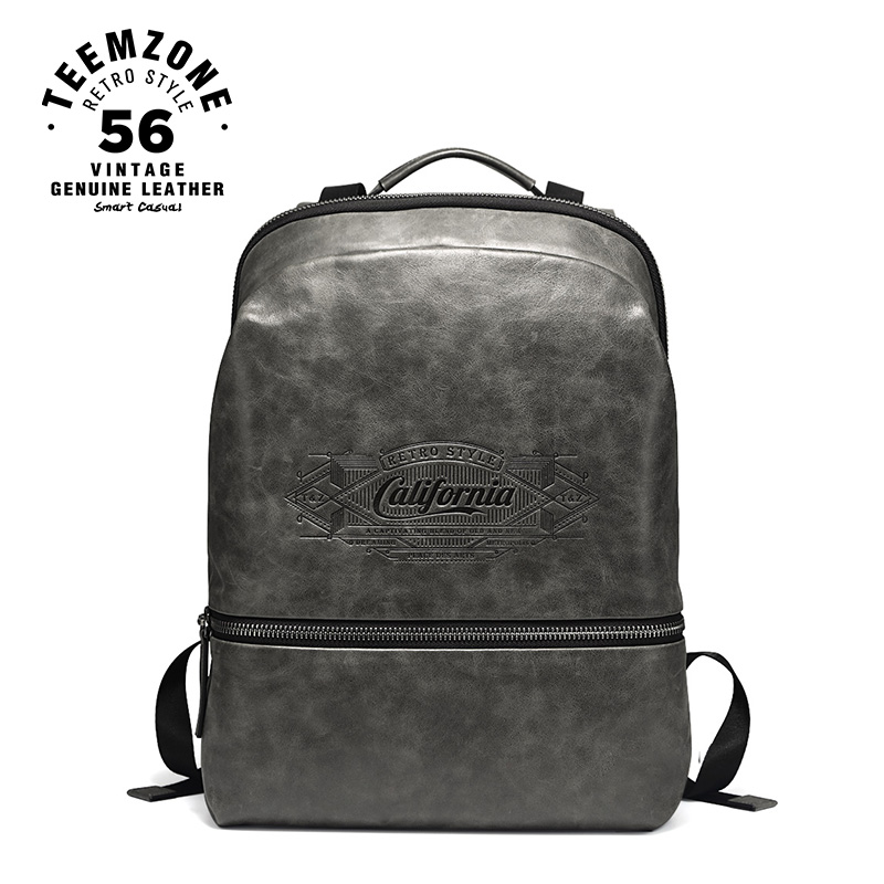 teemzone California Series Men Genuine Leather Travel Backpacks for Laptop16 Inch Notebook Computer Bags Men School Bag T8002 marrant genuine leather backpacks men shoulder bag men bag leather laptop bag 15 inch men s luggage travel bags school backpack