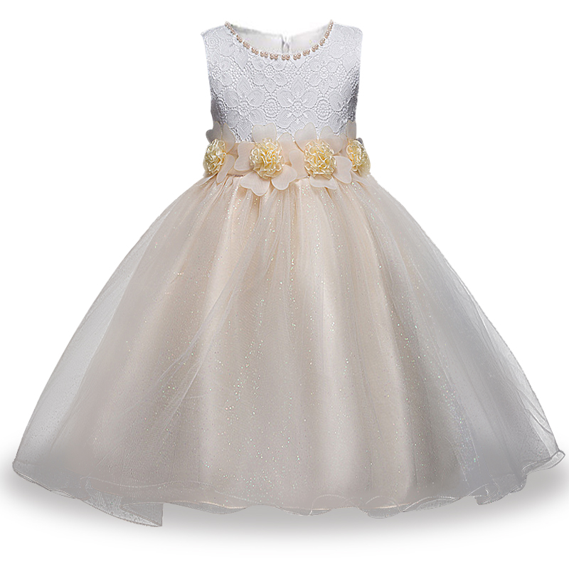 Children clothing spring summer flowers girls dress dress children lace princess net yarn dress flowers shining Peng yarn dress