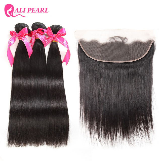 AliPearl Hair Straight Human Hair Lace Frontal Closure With 3 Bundles Brazilian Hair Weave Natural Black Remy Hair Free Shipping