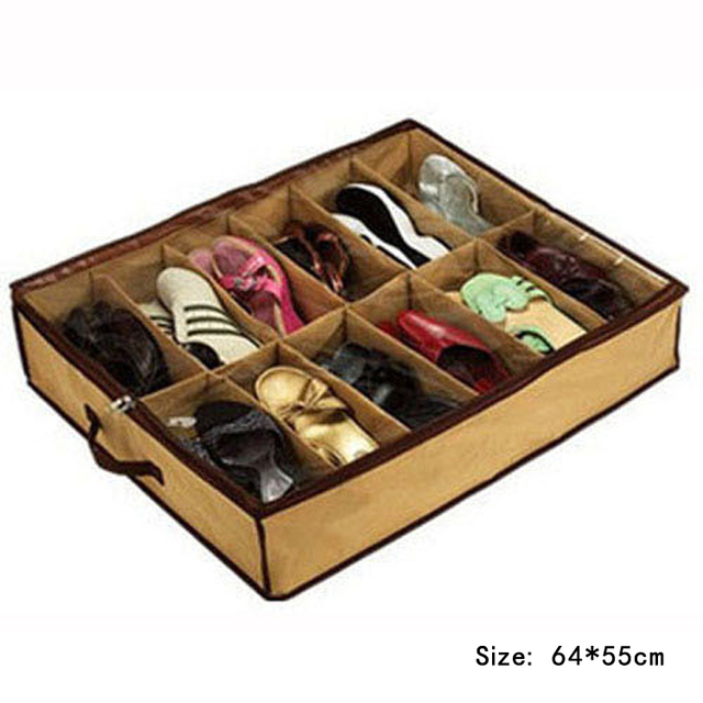 Vogue Available Hot Non Woven Storage Box Products Essentials 12 Grid Shoes  Khaiki Color Newest