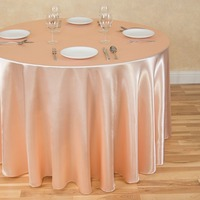 2Pcs Peach 300cm Round Elegant Satin Tablecloths Table Decoration For Wedding Party Banquet Free Shipping